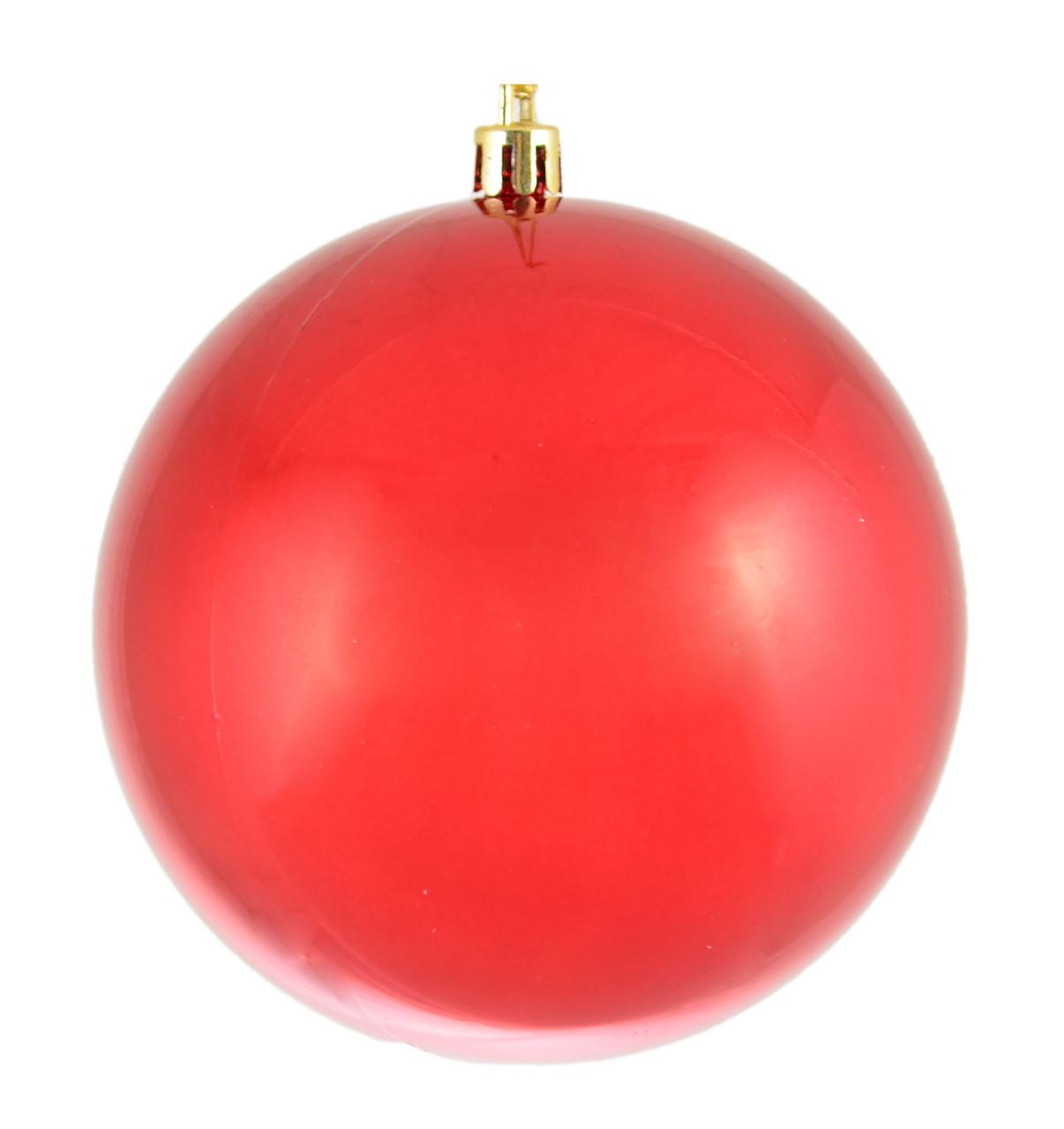 Шар новогодний елочный пластиковый d-10 см красный перламутр