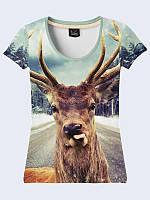 Женсая футболка Дикий олень с языком