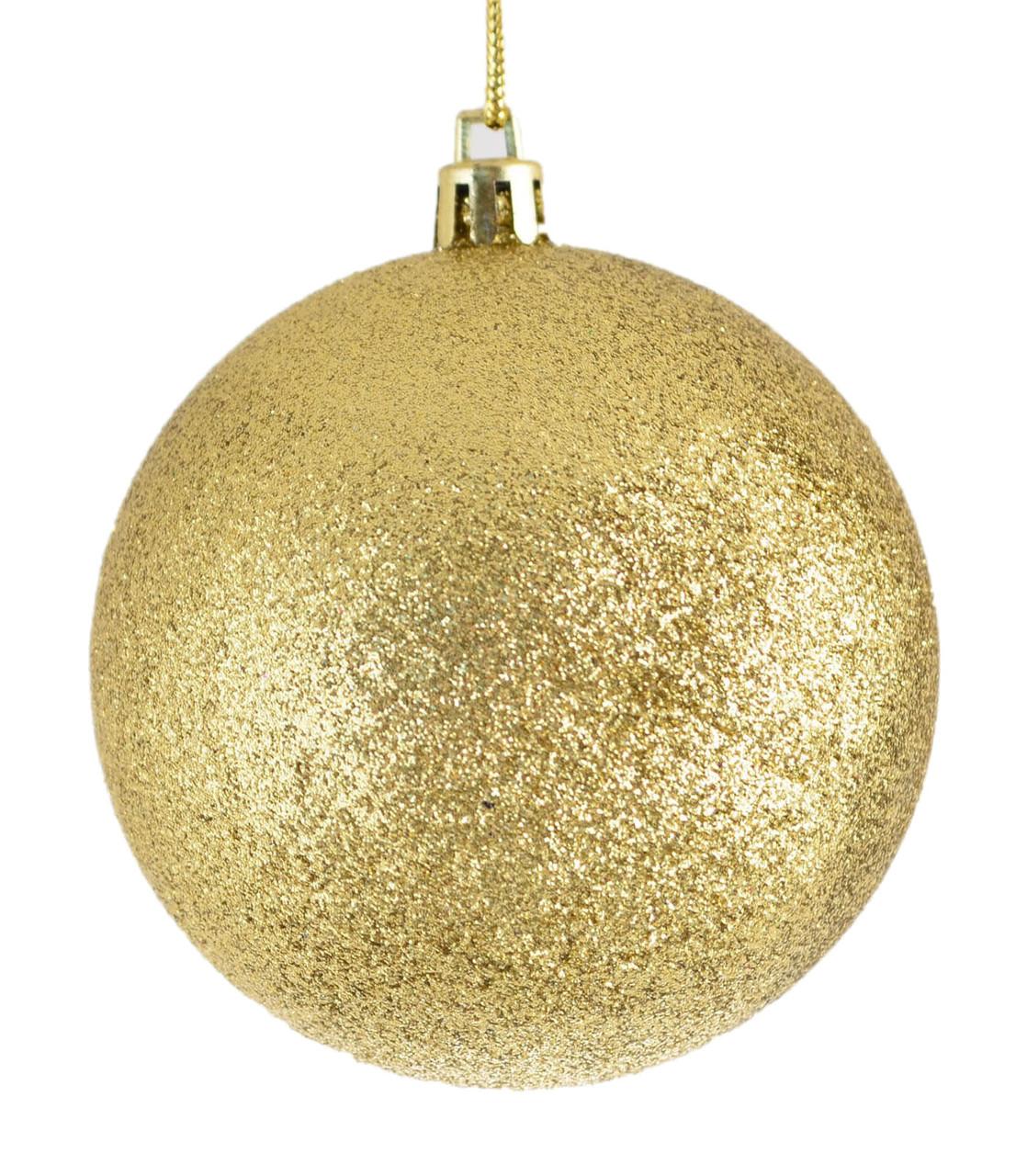 Шар новогодний елочный пластиковый d-15 см золотой глитер