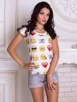 Женсая футболка Смайлики