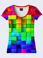 Женсая футболка Цветные кубики