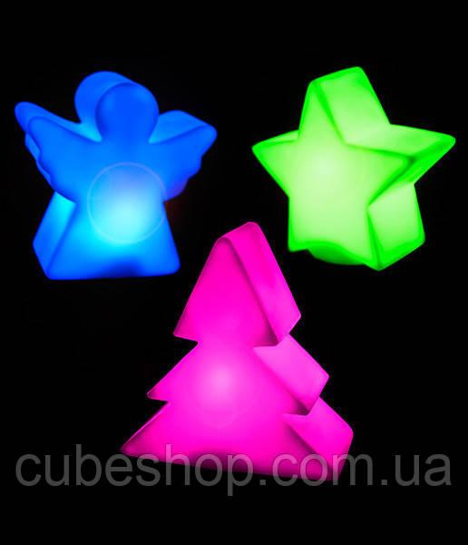 Комплект фигурок: елка, звезда, ангел (меняют цвета)