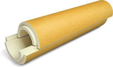 Скорлупа из пенополиуретана  фольгированная фоларом для теплоизоляции труб    Ø 325/40 мм, фото 2