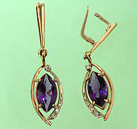Золоті сережки  з діамантом та аметистом