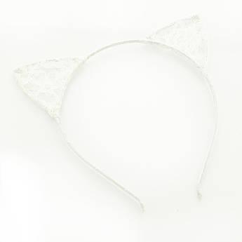 Обруч для волос Ушки Кошки гипюровые белые