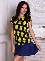Женсая футболка с широким горлом Персонаж Барт