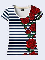 Женсая футболка Вышивка розы