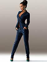 Темно-синий костюм из стрейч-коттона