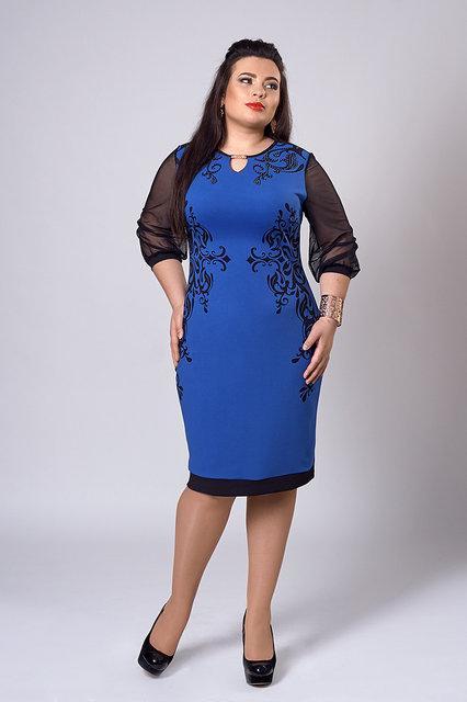 Платье женское больших размеров с камнями  электрик - Интернет-магазин «Omoda» в Киеве