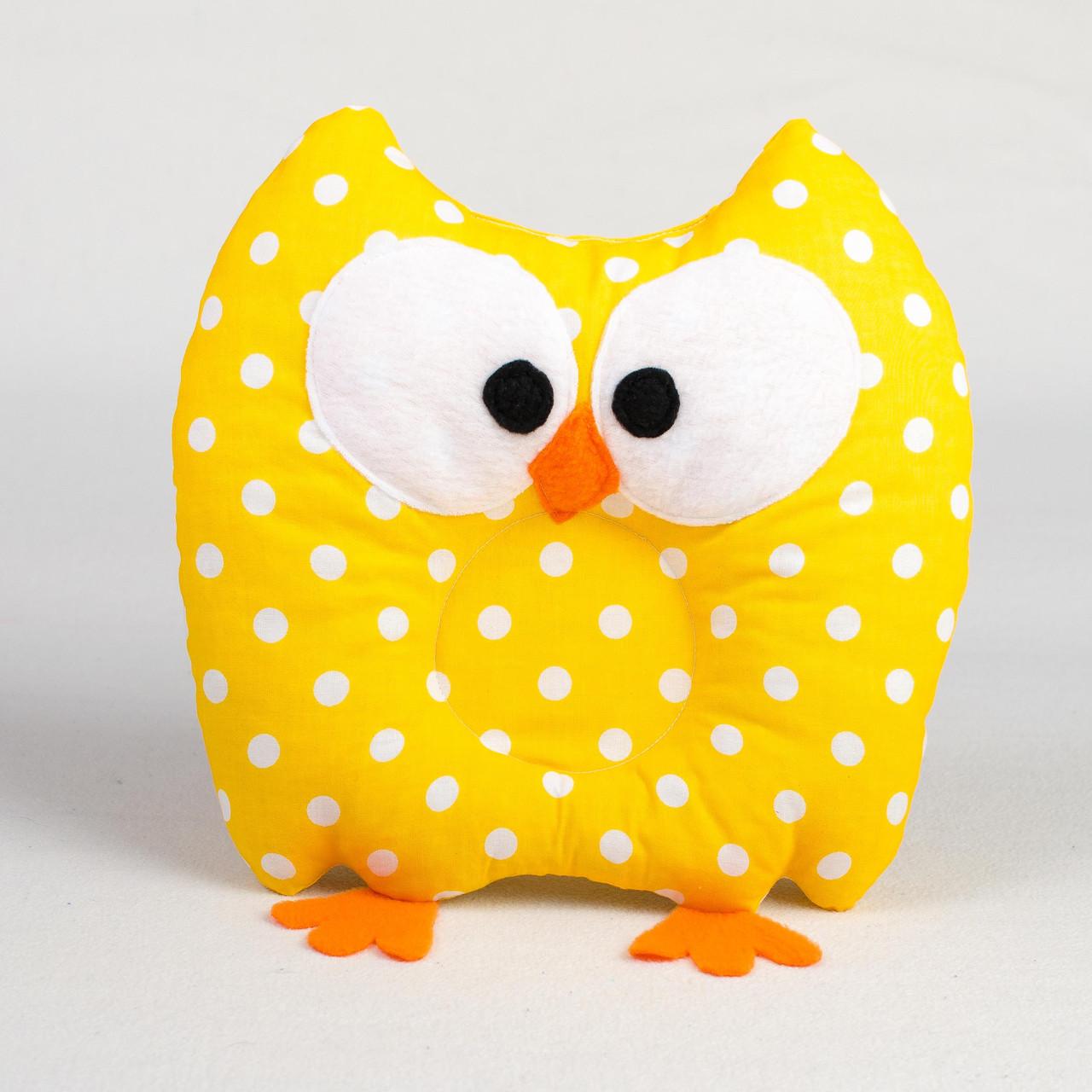 Подушка для новорожденных ортопедическая BabySoon 22 х 30 см. совушка желтая