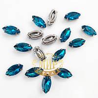 Камни в цапах Люкс, форма Лодочка, цвет Blue Zircon, 6х12мм, 1шт
