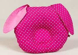 Подушка ортопедическая для новорожденных 22 х 27 см. ТМ BabySoon розовый зайка