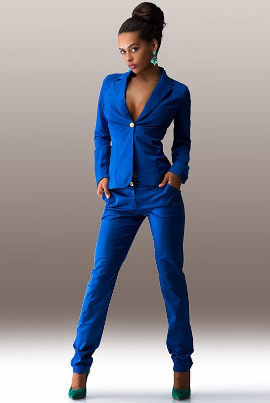Синий костюм из стрейч-коттона