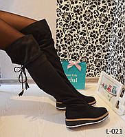 Маленькие размеры 35 !!!Сапоги ботфорты женские на платформе замшевые, женская обувь