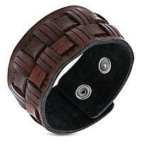 Широкий браслет напульсник кожаный
