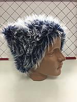 Женская шапка вязаная зимняя темно-синяя