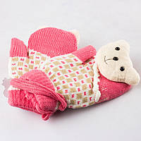 Детские шерстяные варежки с мягкой махрой внутри розовые Tanya 03-06-1