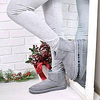 Угги женские Серые 3928 , зимняя обувь
