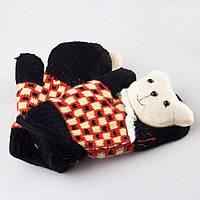 Детские шерстяные варежки с мягкой махрой внутри черные Tanya 03-06-4