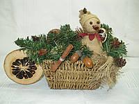 Новогодняя, рождественская корзинка в экостиле со снеговиком, фото 1