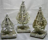 Новогодний, рождественский декор «Винтажные елки из текстиля» (3 шт), фото 1