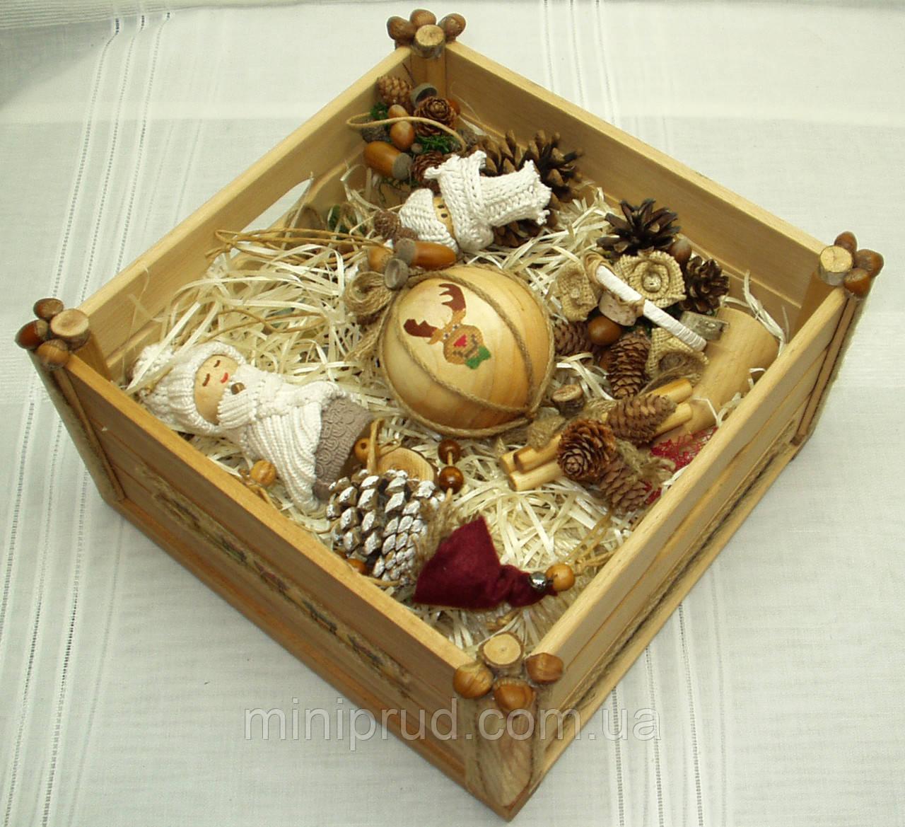 Новогодний набор (15 игрушек + ящик) в Экостиле и стиле Винтаж