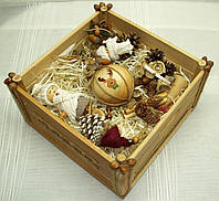 Новогодний набор (15 игрушек + ящик) в Экостиле и стиле Винтаж, фото 1