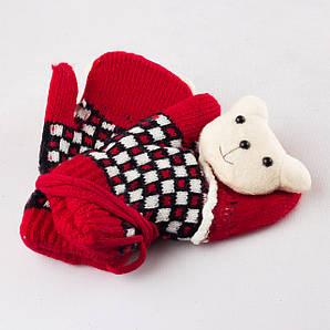 Детские шерстяные варежки с мягкой махрой внутри красные Tanya 03-06-5