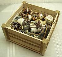 Новогодний набор игрушек «Прованс» в экостиле (16 предметов+ящик), фото 1