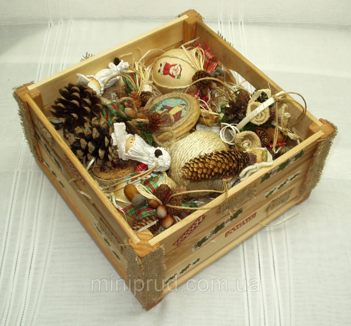 Новогодний набор игрушек «Санта» в Экостиле (15 предметов+ящик)