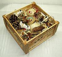 Новогодний набор игрушек «Санта» в Экостиле (16 предметов+ящик)