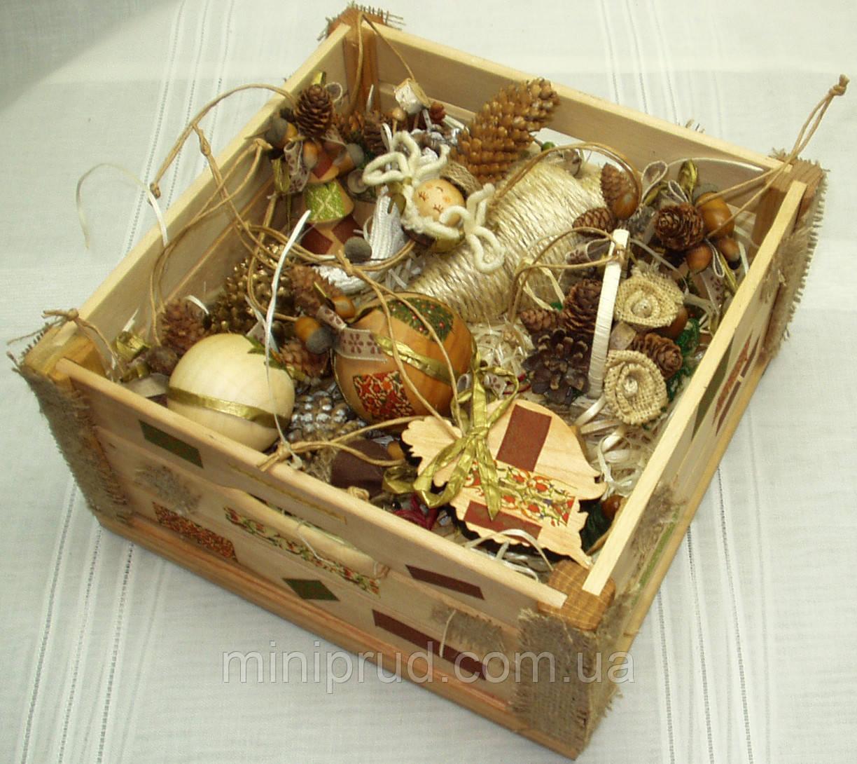Новогодний набор игрушек «Из леса» в Экостиле (14 предметов+ящик)