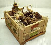 Новогодний набор игрушек «Из леса» в Экостиле (7 предметов+ящик)