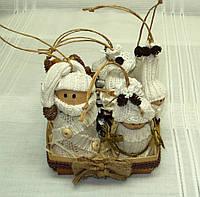 Новогодний набор игрушек «Семейство гномов» в стиле Винтаж (7 игрушек+подставка), фото 1