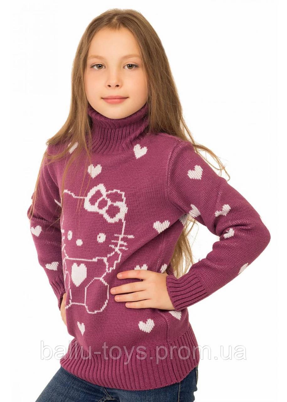 Детский свитер на девочку Китти (4-10 лет)