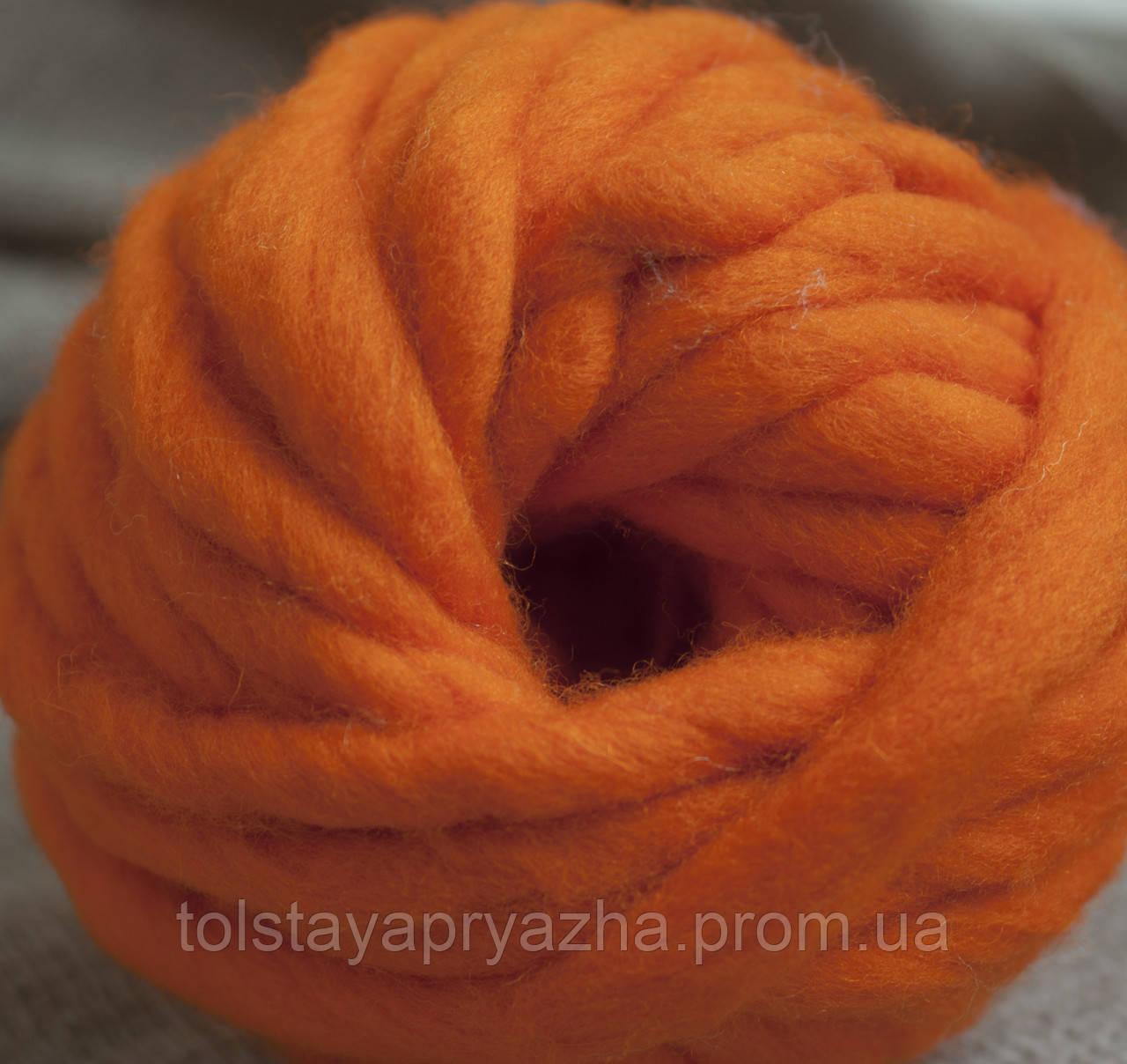 Товста пряжа ручного прядіння Elina Tolina 100% вовна (оброблена) яскравий апельсин