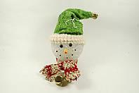 """Новогодняя светящаяся фигурка """"Снеговик в зеленой шапке"""" 9х12 см"""