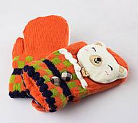Детские шерстяные варежки с мягкой махрой внутри оранжевые Tanya 03-07-3