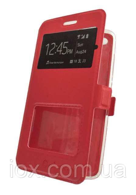 Красный чехол-книжка Nillkin на магните с двумя окошками для Xiaomi Redmi Note 4