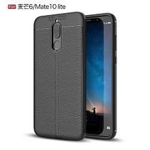 Чехол накладка силиконовый TPU Litchi Grain для Huawei Mate 10 Lite черный