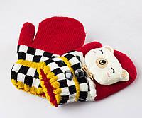 Детские шерстяные варежки с мягкой махрой внутри красные Tanya 03-07-5