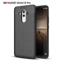 Чехол накладка силиконовый TPU Litchi Grain для Huawei Mate 10 Pro черный