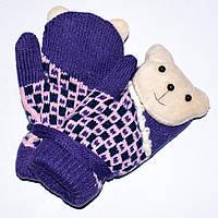Детские шерстяные варежки с мягкой махрой внутри фиолетовые Tanya 03-06-6