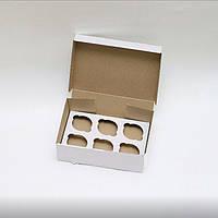 Коробка для капкейков, кексов и маффинов 6 шт 250х170х80 мм.