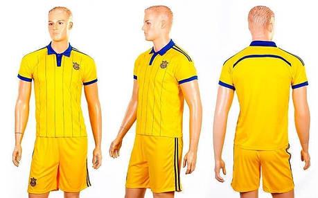 Форма футбольная детская УКРАИНА CO-3900-UKR-14Y (полиэстер, р-р XS-XL, желтый), фото 2