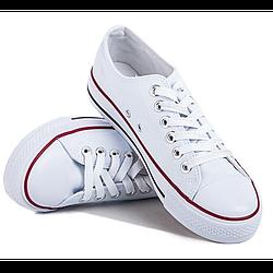 Кеды белые с красным ободком 38 размер