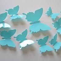 Однотонные самоклеющиеся 3D бабочки для декора мебели , холодильника , штор Голубые (08625)