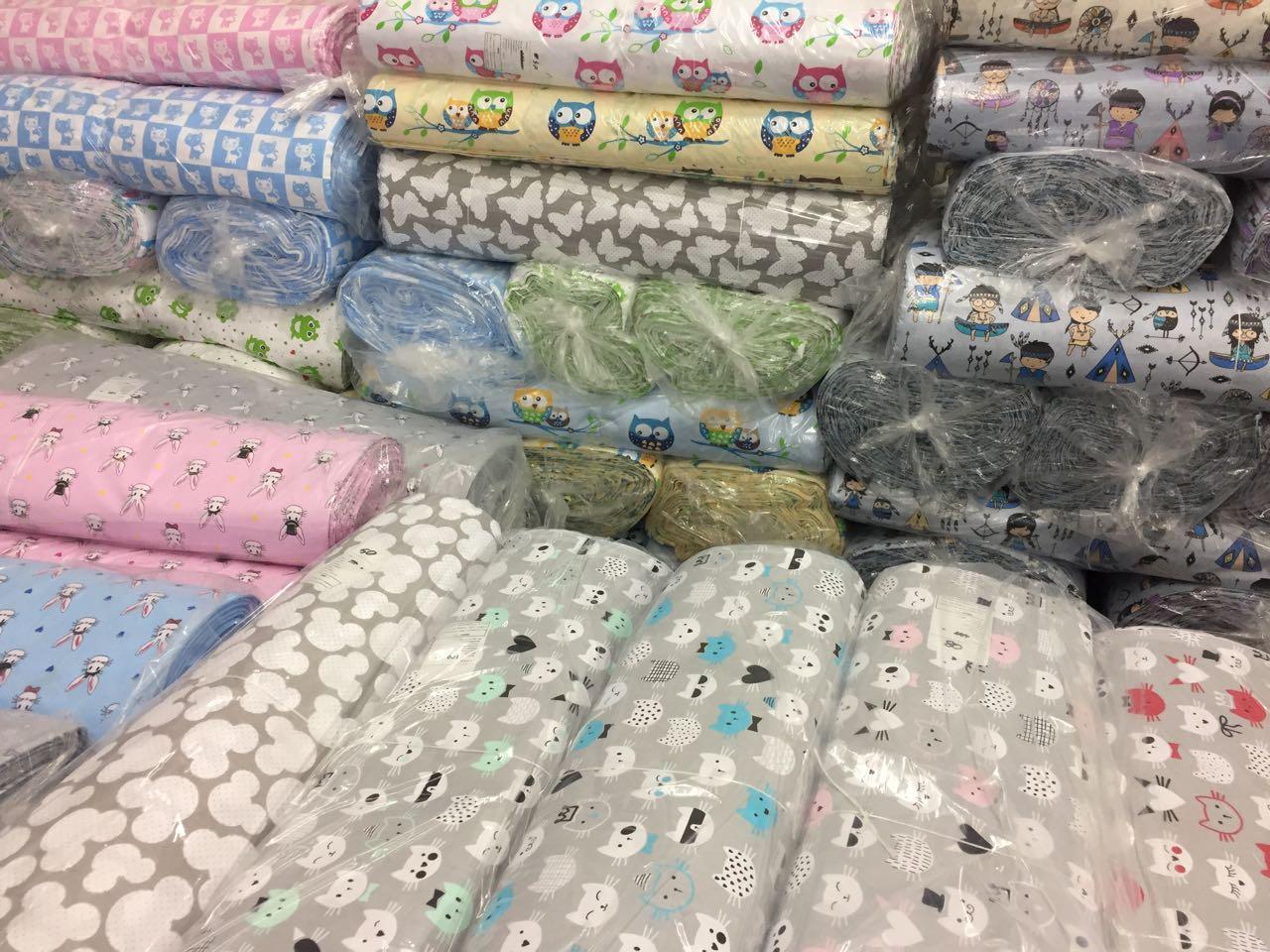 Бязь детские ткани  ОПТ от 1рулона 125-135 г/м2