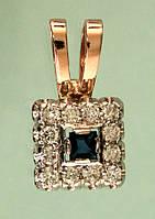 Золотий підвіскок з діамантом та сапфіром