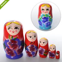 Деревянная игрушка МАТРЕШКА MD 0973  11,5см, 5шт, 2 цвета, в кульке ZC